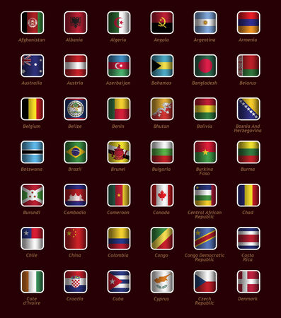 Set of buttons with flags part A-D Vector