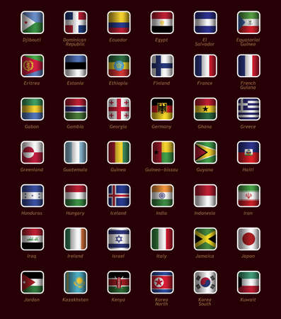 Set of buttons with flags part D-K Vector