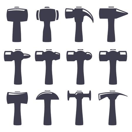 mattock: Set of icons of hammers on white background Illustration