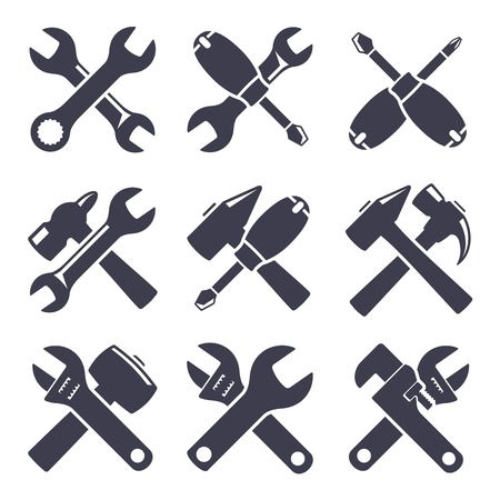 Set of icons of tools on white background