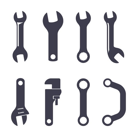 adjustable wrench: Set of icons of spanners on white background