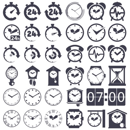 24 hours: Set of icons of  clocks on white background