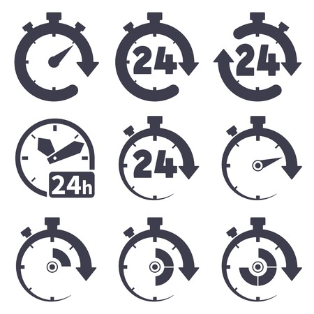 Set of icons of  clocks on white background
