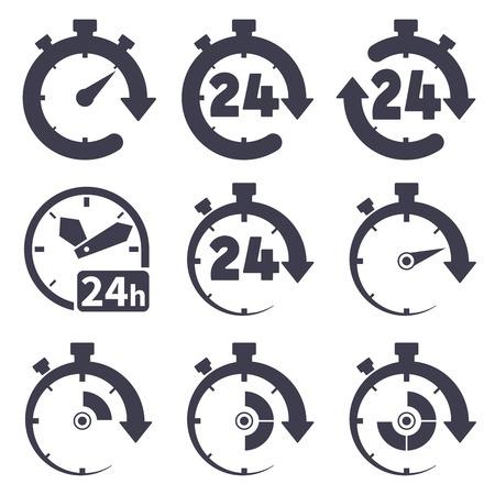Set van iconen van klokken op een witte achtergrond