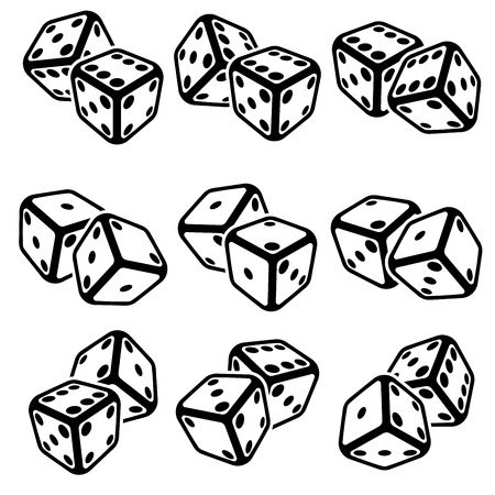 craps: Vector illustration of dice on the white background