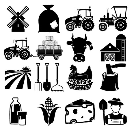 tractor: Farm icon black on white background Illustration