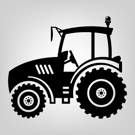 Tractor pictogram zwart macro boer machine Stock Illustratie