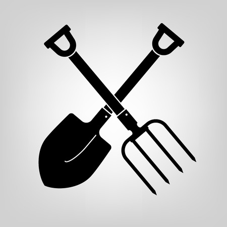 landscaping: shovel and pitchfork icon black