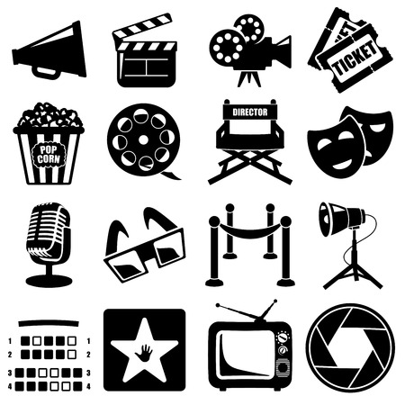 Vector cinema icon set black on white background