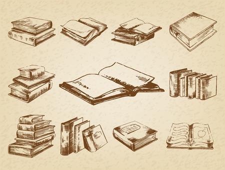 Books set. Pen sketch converted to vectors. Vettoriali