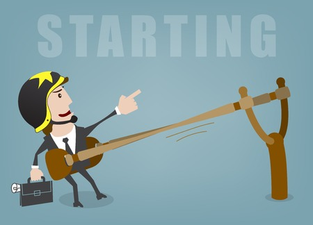 business project: Business man start up success vector illustration Illustration