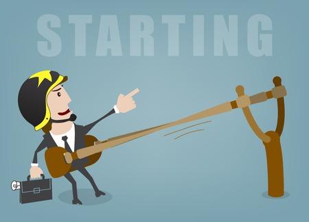 cohetes: Hombre de negocios en marcha �xito ilustraci�n vectorial