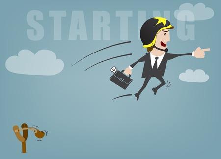 accelerating: Business man start up success vector illustration Illustration