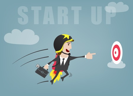 Business man start up success vector illustration Çizim