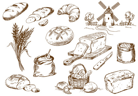 loaf of bread: Bread set. Pen sketch converted to vectors.