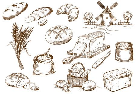 Chleb ustawić. Pióro szkic konwertowane na wektorach.
