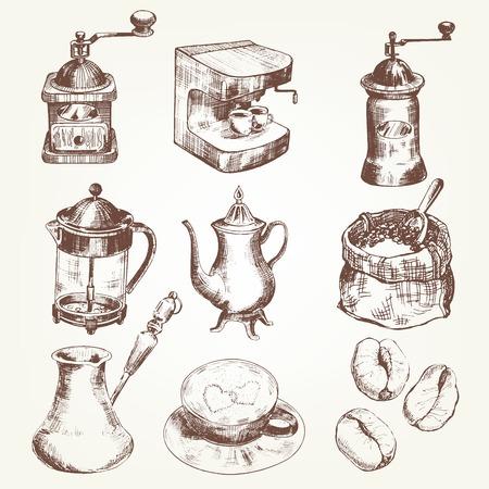 turkish dessert: Coffee set. Pen sketch converted to vectors.