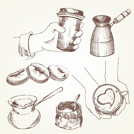 converted: Coffee set. Pen sketch converted to vectors.