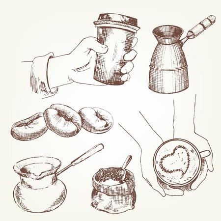 coffee tree: Coffee set. Pen sketch converted to vectors.