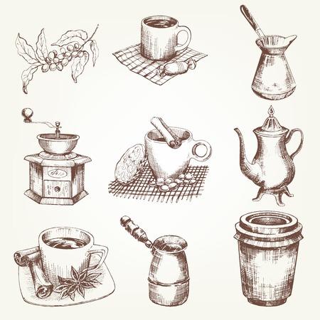 Koffie set. Pen schets omgezet naar vectoren.
