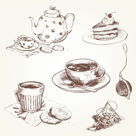 tea set: Tea set. Pen sketch converted to vectors.