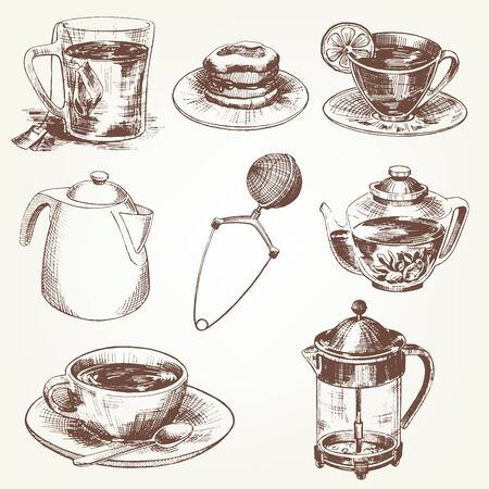 teaspoon: Tea set. Pen sketch converted to vectors.