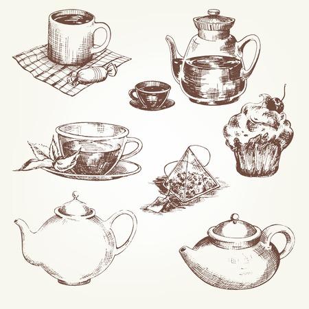 tea kettle: Tea set. Pen sketch converted to vectors.