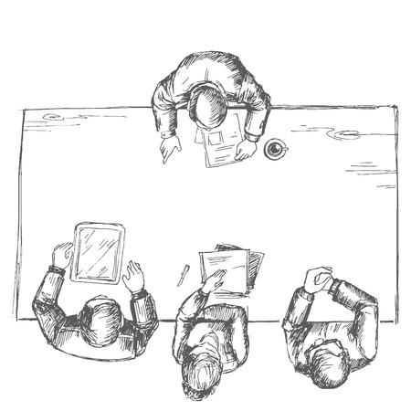 �sketch: El hombre es entrevistado. Sketch convierte en vectores.