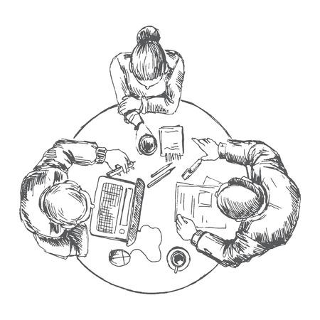 テーブルでチームの作業のビジネスマン。スケッチは、ベクトルに変換されます。