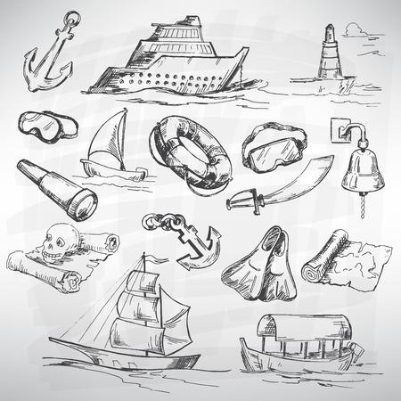 converted: Sea icon set. Sketch converted to vectors. Illustration