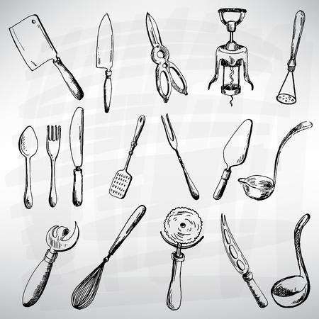 Cutlery set black. Sketch converted to vectors. Vector