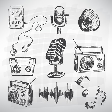 vintage radio: Music vector set. Sketch converted to vectors. Illustration