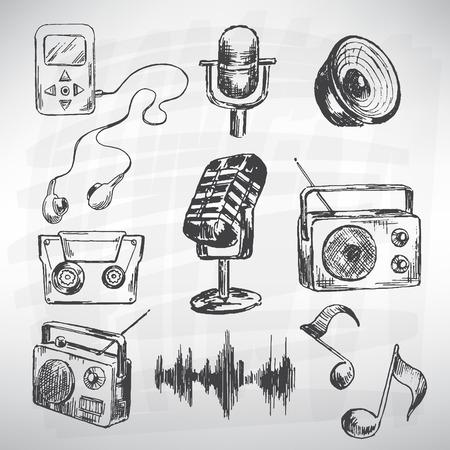 microfono de radio: Vector conjunto de m�sica. Sketch convierte en vectores. Vectores