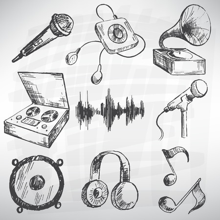 retro microphone: Music vector set. Sketch converted to vectors. Illustration