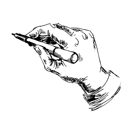 hand pencil: Hand with pencil. Sketch converted to vectors.