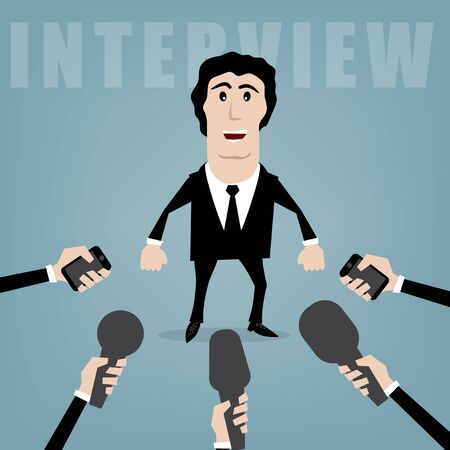interrogative: vector businessman giving an interview to journalists