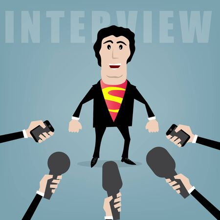 interrogative: businessman giving an interview to journalists