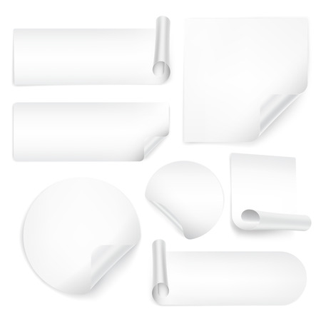 wrapped corner: Set Of Blank Stickers on white background