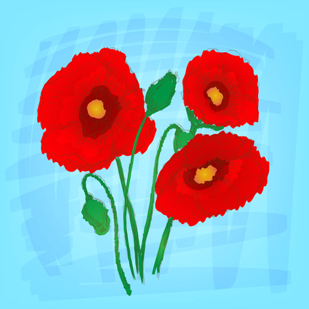 Flowers set color. Sketch converted to vectors. Vector