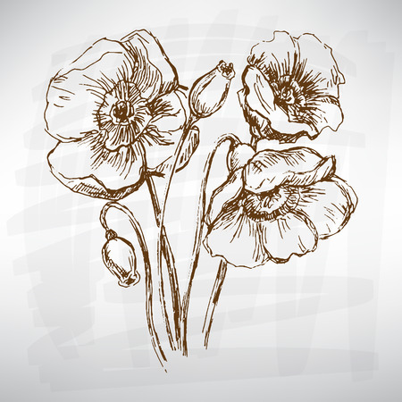 converted: Flowers set black. Sketch converted to vectors.