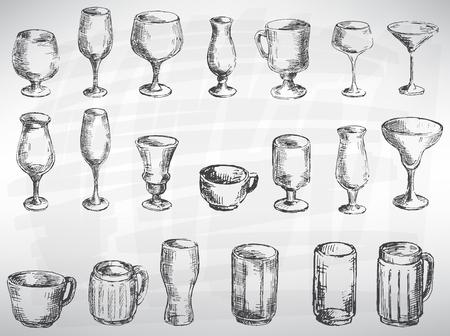 Cutlery set black. Sketch converted to vectors. Background Illustration
