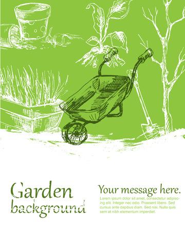 converted: Garden background color. Sketch converted to vectors. Illustration