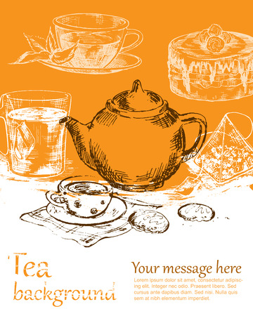 converted: Tea background color. Sketch converted to vectors.