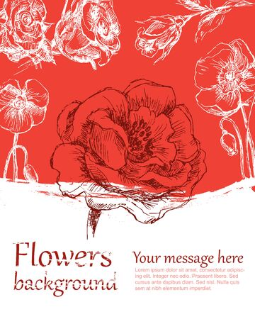 converted: Flower background color. Sketch converted to vectors.