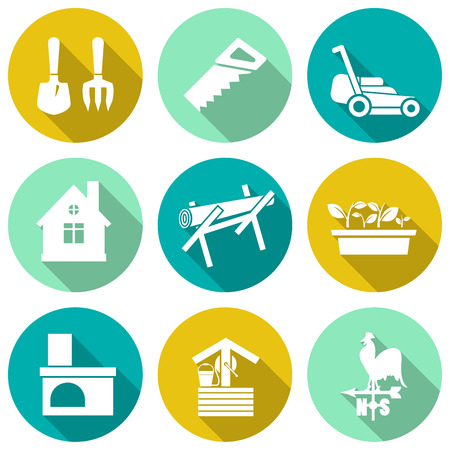 sow: Set of white farming icons. Vector illustration
