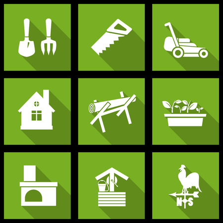 weathercock: Vector white farming icons set on green Illustration