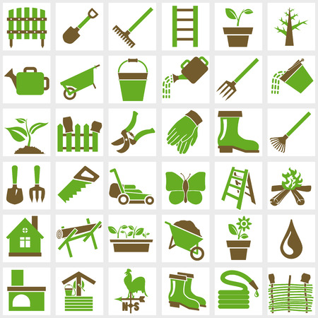 tools: Vector green garden icons set on white