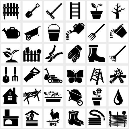 Vector black garden icons set on white