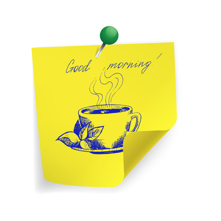 Good morning on yellow sticker paper note Vector