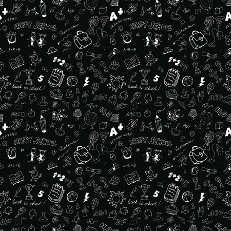 converted: School seamless pattern. Sketch converted to vectors.